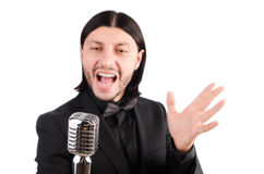 The man singing in the karaoke club Royalty Free Stock Images