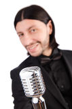 The man singing in the karaoke club Royalty Free Stock Photography