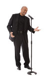 Man singing into microphone Royalty Free Stock Photo