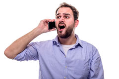 Man singing on the phone Stock Image