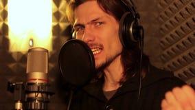 Man singing in the Studio stock video footage