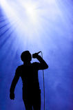 Man singing under floodlight at open-air concert Stock Image