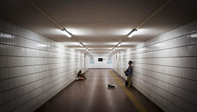 Man singing in an underpass Royalty Free Stock Photos