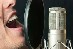 Man Sings Into Condenser Microphone, Close Royalty Free Stock Photography