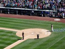 Man sings God Bless America during baseball game Royalty Free Stock Image