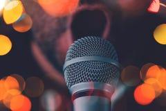 Man sings karaoke in a bar Royalty Free Stock Photo