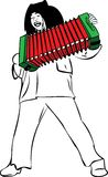 A man sings and plays accordion Stock Photo