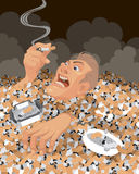 Man sinking in cigarette butts Stock Image