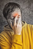 Man with Sinus Headache Stock Images
