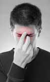 Man with sinus pain Stock Photography