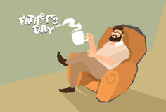 Man Sit In Armchair Hold Cup Father Day Holiday Royalty Free Stock Images