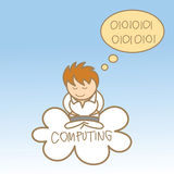 Man sit on cloud computing Stock Images