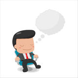 Man Sit down Thinking Buble Text Stock Photos
