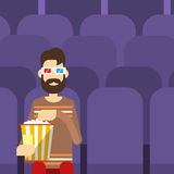 Man Sit Watching Movie In Cinema 3d Glasses With Popcorn. Flat Vector Illustration Royalty Free Stock Photo
