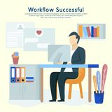 Man sits at a computer and programming, and working on business projects. royalty free illustration