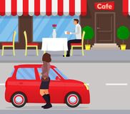 A man sits at a table at an outdoor cafe, drinking coffee and waiting for the woman. Woman out of the car. Meeting couple in the s Stock Images