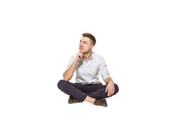 Man sits and thinks Royalty Free Stock Image