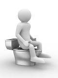 Man sits on toilet bowl Stock Photo