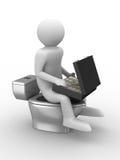 Man sits on toilet bowl with money Stock Photos