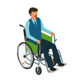 Man sits in wheelchair. Invalid, disabled, cripple icon or symbol.   Royalty Free Stock Photo