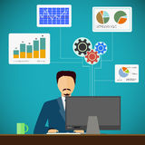 Man sits on the workplace at the computer. Financial and statist. Ical graphs and charts. Flat graphic. Stock  illustration Stock Photo