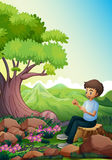 A man sitting above a stump Royalty Free Stock Photo