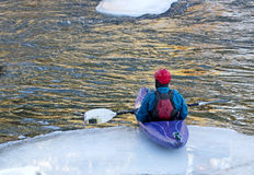 Man Sitting Alone On Iceberg In Kayak Stock Photo