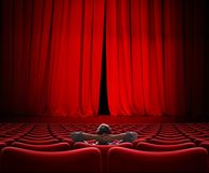 Man sitting alone in VIP movie theater hall 3d illustration stock photography