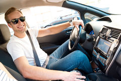 Man Sitting At The Wheel Of Car Royalty Free Stock Photography