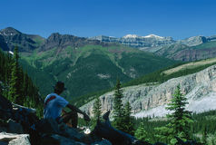 Man Sitting in Awe Over a Gorgeous Mountain Landscape Royalty Free Stock Image