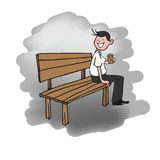 Man sitting on bench drinking coffee Royalty Free Stock Images