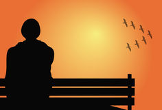 Man sitting on a bench. Illustration of a man sitting on a bench Stock Photography