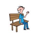 Man sitting on bench says hi Royalty Free Stock Photography