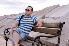 Man sitting on the bench and thinking about life royalty free stock photography
