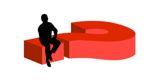 Man sitting on big question mark. Vector illustration as silhouette of a man sitting on a big 3D question mark symbol wondering about a solution Stock Photos