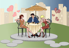 Man sitting in a cafe with beautiful women. Love Confession. Rivals. Valentine's Day. Vector illustration. Royalty Free Stock Photography