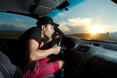 Man sitting in the car Royalty Free Stock Photo
