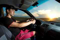 Man sitting in the car stock image