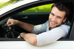 Man sitting in a car Royalty Free Stock Images