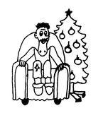 A man sitting in a chair in the living room next to the Christmas tree comic caricature cartoon  illustration Stock Images