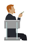 Man Sitting on the Chair and Pointing by Hand. Royalty Free Stock Image