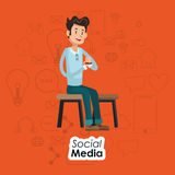 Man sitting on chair social media orange background Stock Image