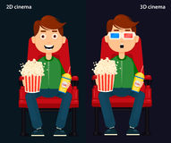 Man Sitting in the Cinema and Watching a Movie, 2D and 3D cinema. Colorful Vector Illustration, Flat style, EPS10 royalty free illustration