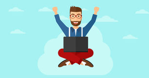 Man sitting on cloud with laptop. Stock Photo