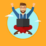 Man sitting on cloud with laptop. Royalty Free Stock Image