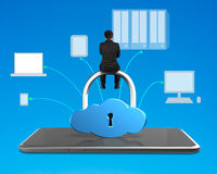 Man sitting on cloud shape lock with smart tablet Stock Photography