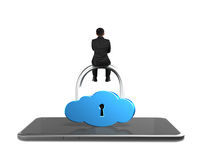 Man sitting on cloud shape lock with smart tablet Royalty Free Stock Image