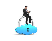 Man sitting on cloud shape lock using smart tablet Stock Photos