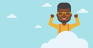 Man sitting on cloud vector illustration. Royalty Free Stock Photos