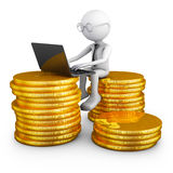 Man sitting on coins. Stock Images